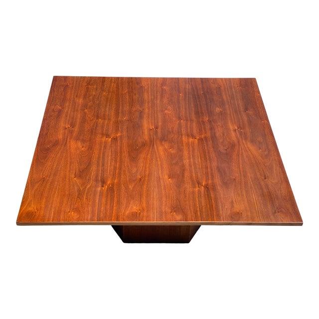 Mid-Century Danish Modern Walnut Square Coffee Table Octagonal Base For Sale