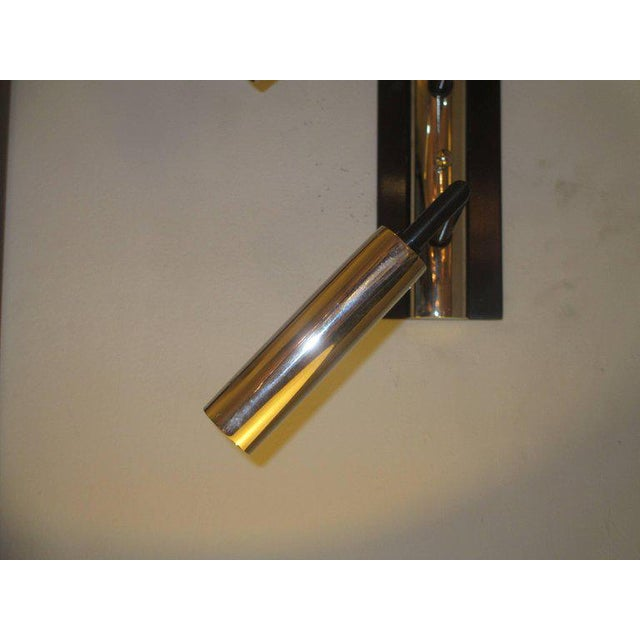 2010s Pair of Custom Four-Arm Bronze and Nickel Plated Sconces For Sale - Image 5 of 6