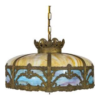 Early 20th Century Bradley Hubbard Yellow & Blue Slag Glass & Bronze Umbrella Pendant For Sale