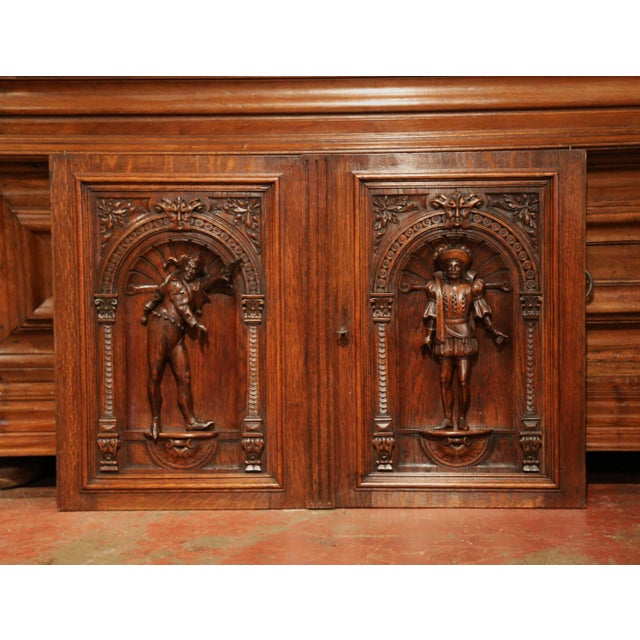 Brown Pair of 19th Century French Henri II Carved Oak Doors With High Relief Carvings For Sale - Image 8 of 8