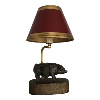 Pig Desk Lamp Finished in Brass With Red and Gold Leaf Painted Shade For Sale