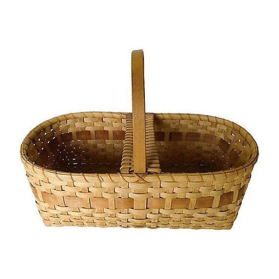 Vintage Large Handmade Black Ash Wood Basket - Image 2 of 5