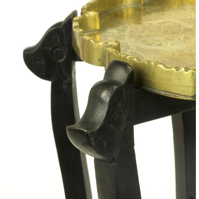 Brass Carved Ebony Folding Table with Etched Brass Tray Top For Sale - Image 7 of 9