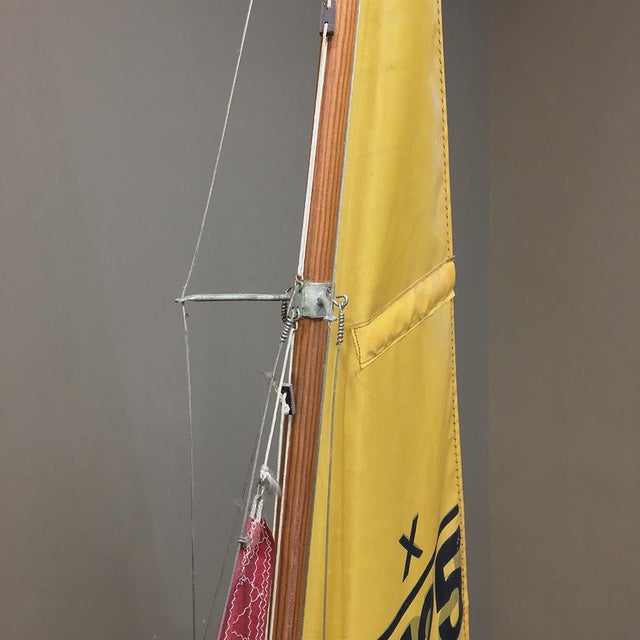Red Mid-Century Scale 12 Meter Racing Yacht For Sale - Image 8 of 11