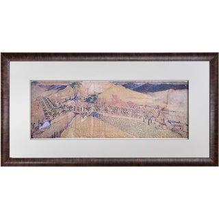 Frank Lloyd Wright Lithograph Limited Ed. Winter Resort Chandler, Az W/Frame For Sale