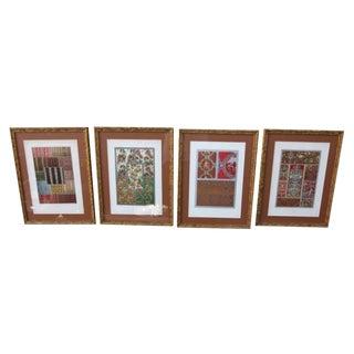 Framed French Textile Prints - Set of 4
