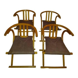 Mid Century Modern Bentwood Stitched canvasFolding Chairs by August Thonet- Set of 4 For Sale
