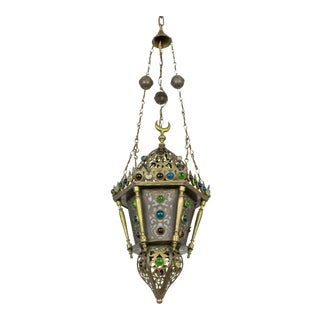 Moroccan Cut Brass Lantern With Glass Gems For Sale