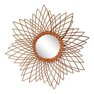 20th Century French Wicker Rattan Sunburst Flower Mirror For Sale