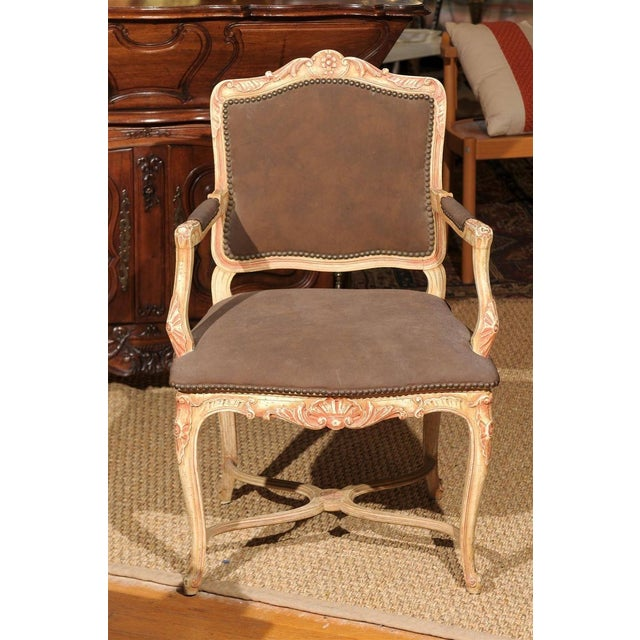 Wood Louis XV Style Painted Bergere Chair For Sale - Image 7 of 7