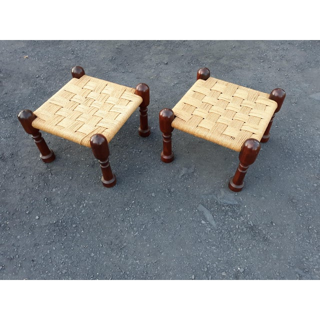 1960s Danish Modern Rosewood and Rope Ottomans - a Pair For Sale - Image 9 of 9