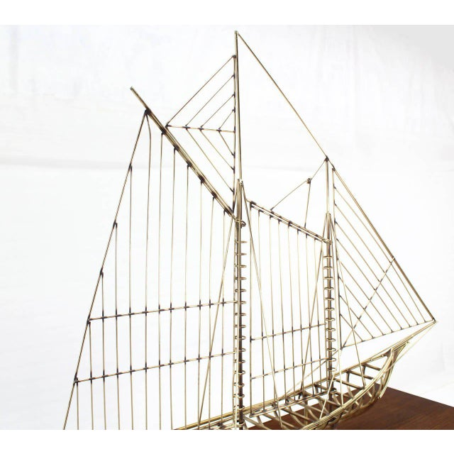 Long Brass 1976 Curtis Jere Sail Boat Sculpture For Sale - Image 10 of 10