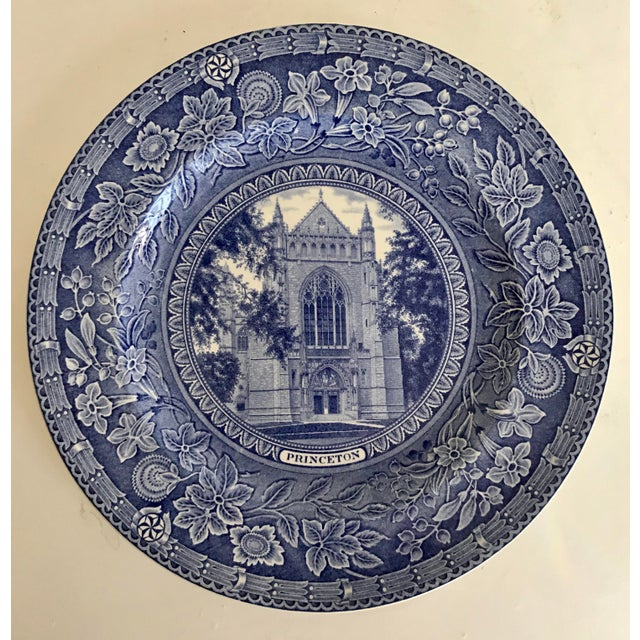 1930 Wedgwood Princeton University Blue and White Dinner Plate Set of 9 For Sale - Image 11 of 12