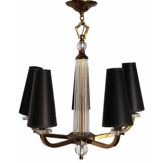 Jacques Adnet 5-Arm French Chandelier