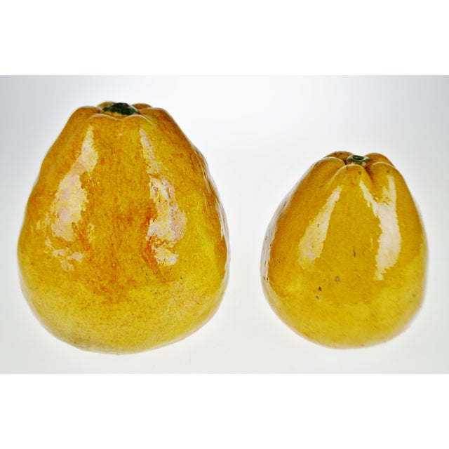 Mid 20th Century Vintage Art Pottery Ceramic Asian Pears - A Pair For Sale - Image 5 of 12