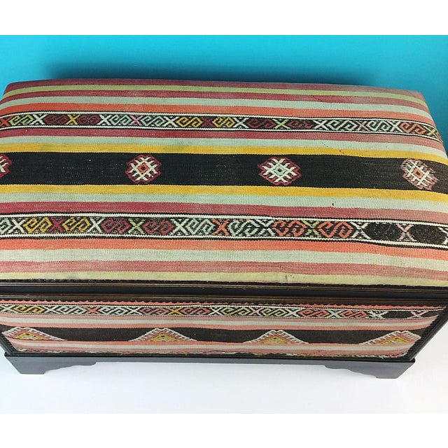 Antique Turkish Kilim Cedar Storage Trunk Bench For Sale - Image 5 of 10