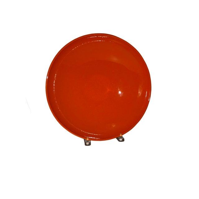 1970s Vintage West German Pottery Orange Bowl For Sale - Image 5 of 5