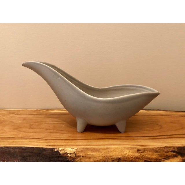 Mid-Century Modern Gray Footed Ceramic Planter For Sale - Image 9 of 9