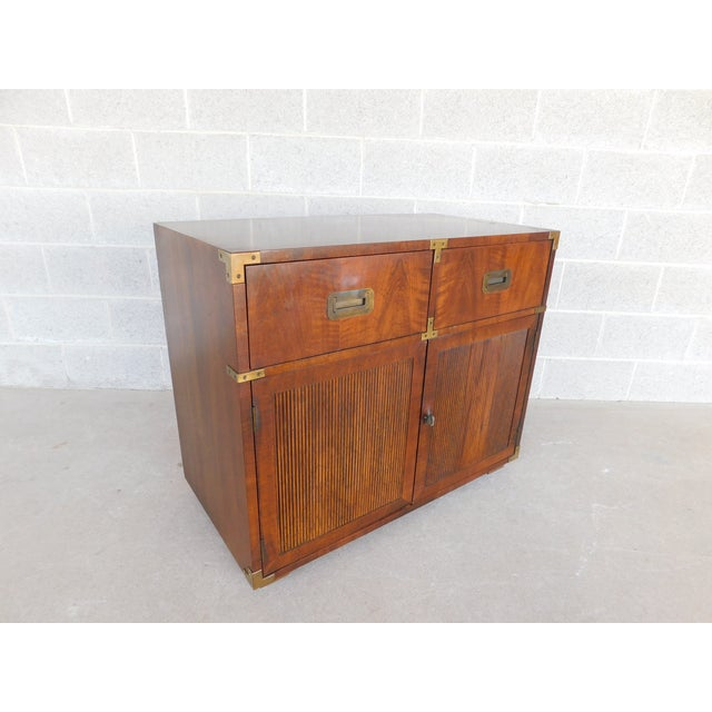 """Henredon Henredon Campaign Style 2 Drawer 2 Door Chest 30""""h X 36""""w For Sale - Image 4 of 10"""