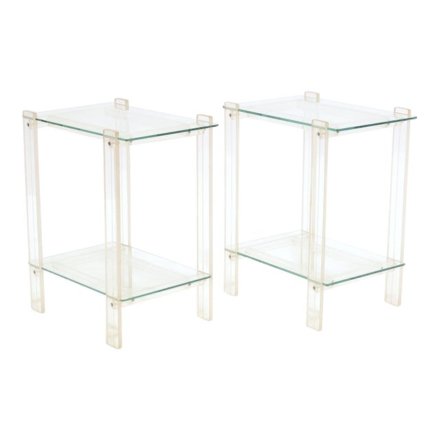 Pair Of Lucite And Glass End Tables/ Night Stands - Image 1 of 7
