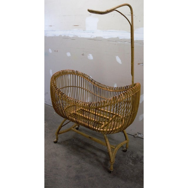 1950s 1950s Vintage Franco Albini Style Bamboo Cradle For Sale - Image 5 of 12