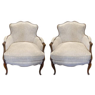 Early 20th Century Pair of French Bergere Chairs For Sale