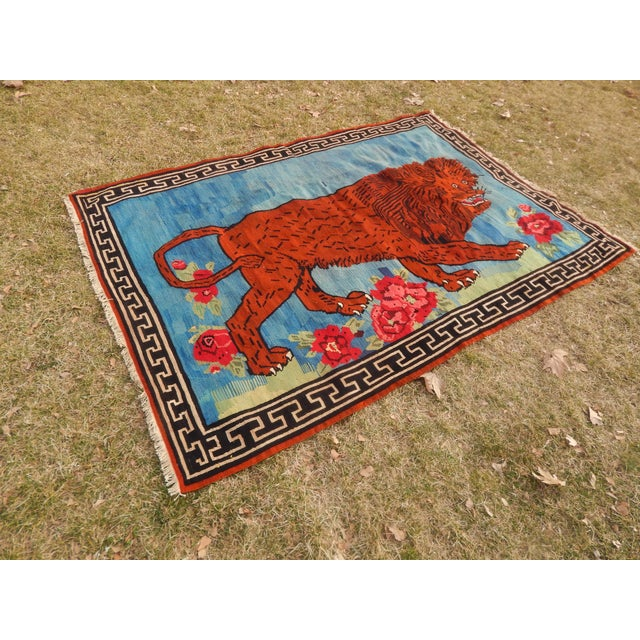 Vintage Gabbeh Lion Kilim Rug - 5'1'' X 7'3'' For Sale - Image 10 of 13