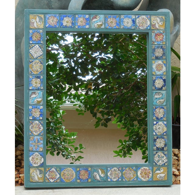 Hand Painted Persian Tile Mirror - Image 6 of 11