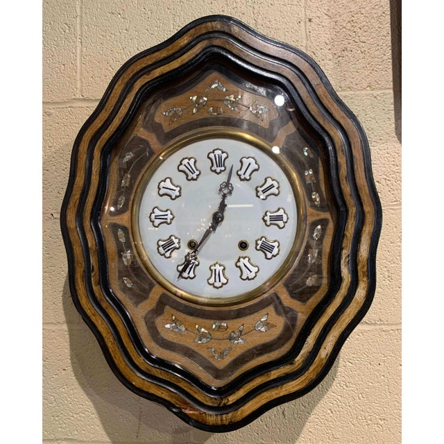 19th Century French Napoleon III Mother of Pearl Inlay and Painted Wall Clock For Sale - Image 12 of 12
