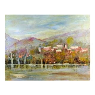 Riverside Village Landscape Painting For Sale