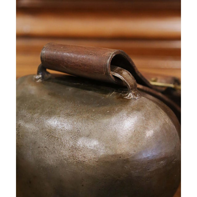 19th Century French Iron Cow Bell With Original Leather Collar & Bronze Buckle For Sale In Dallas - Image 6 of 12