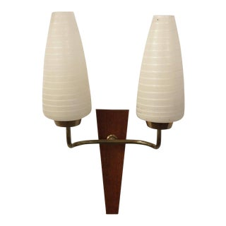 French 1950s Double Headed Wall Sconce in Teak and Brass