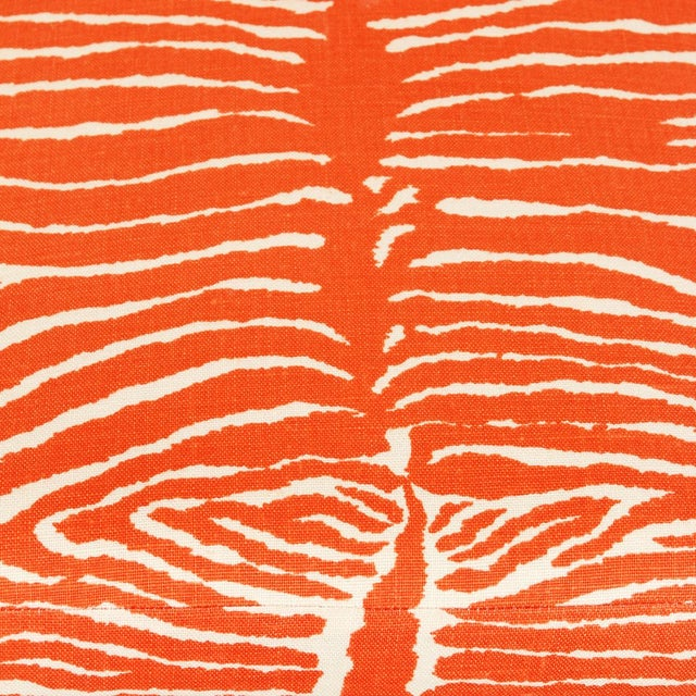 Brunschwig & Fils Orange Zebra Slipper Chairs - a Pair For Sale - Image 4 of 5
