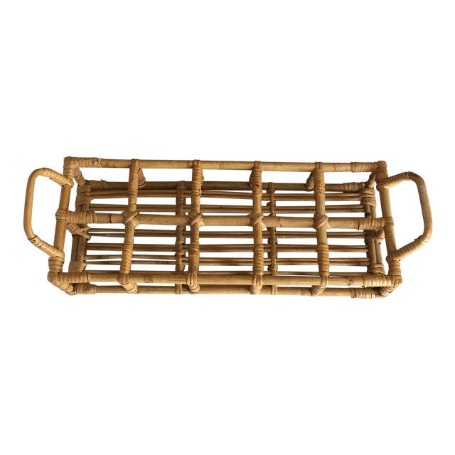 Vintage Bamboo Drink Carrier / Caddy For Sale