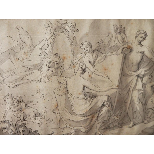 Mid 19th Century Antique Pen & Ink Framed Drawing For Sale - Image 4 of 5