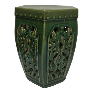 Vintage Mid Century Green Chinese Ceramic Garden Stool For Sale
