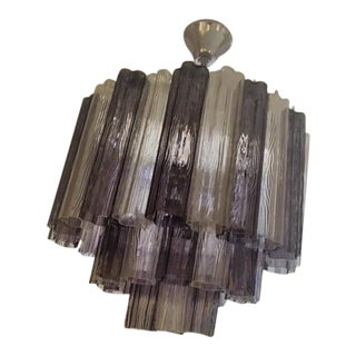 Amethyst & Glass Tube Chandelier For Sale