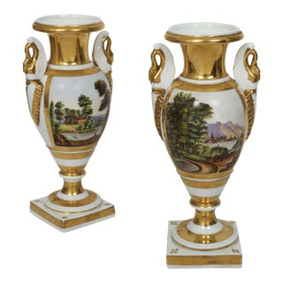 Pair of French Parisian Painted Porcelain Swan-Form Vases, 19th Century For Sale