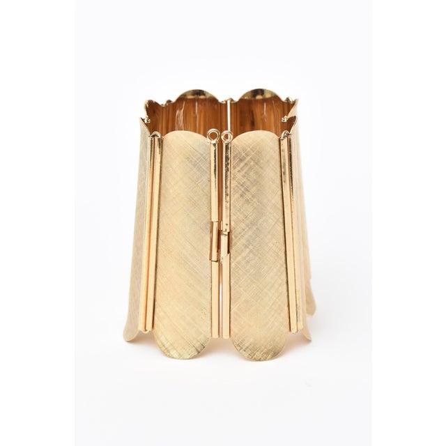 Egyptian Revival Napier Modern Gold Tone Cuff Bracelet For Sale - Image 3 of 11