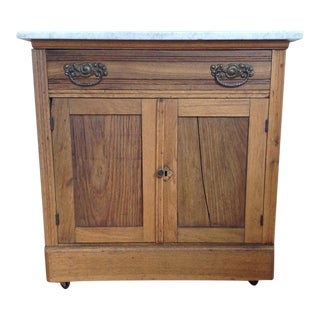 Early 20th Century Country Oak and Marble Washstand Cupboard For Sale