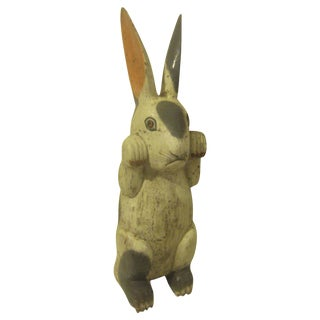 Large European Folkart Wooden Rabbit