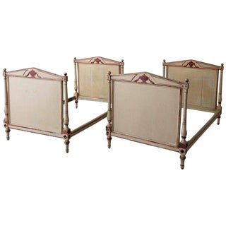 Pair of 19th Century French Directoire Style Twin Bed Frames in Original Paint For Sale