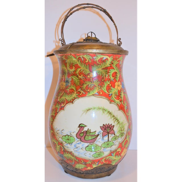 Asian John-Richard Red Chinoiserie Porcelain and Brass Urn For Sale - Image 3 of 10
