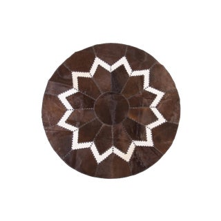 Cowhide Patchwork Area Rug - 62in Diameter For Sale