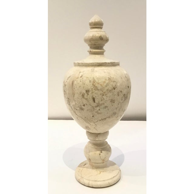 Stone Modern Large Beige Marble Vessel/Urn With Finial Lid For Sale - Image 7 of 7