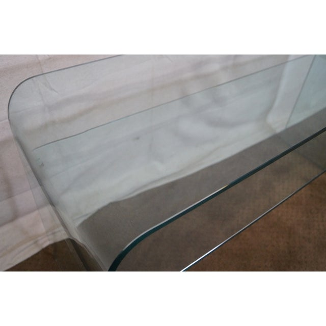 Transparent Mid-Century Modern Curved Glass Console Table For Sale - Image 8 of 10