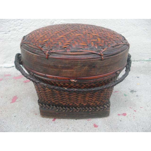 Bamboo Early 20th Century Antique Lidded Rice Basket For Sale - Image 7 of 7