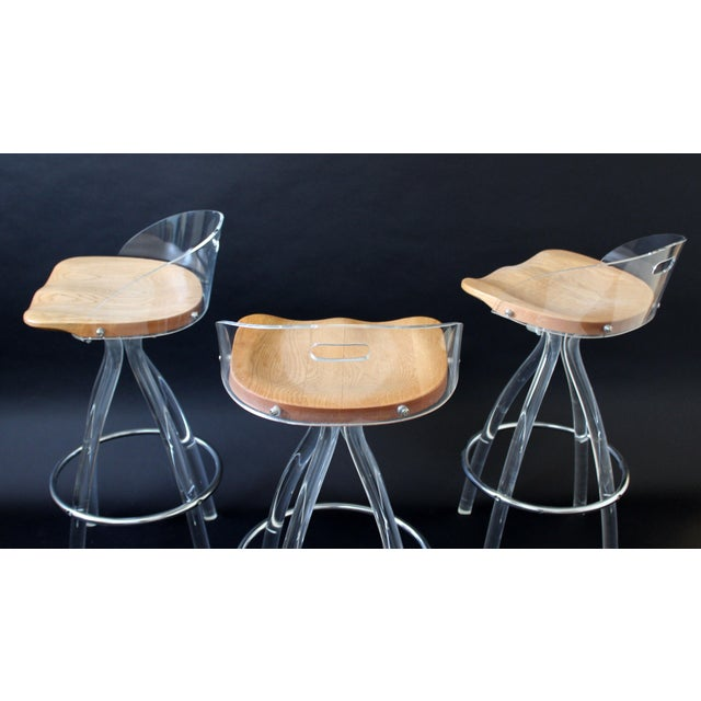 Mid-Century Modern Mid Century Modern Hill Mfg Lucite Wood Saddle Seat Bar Stools- Set of 3 For Sale - Image 3 of 7