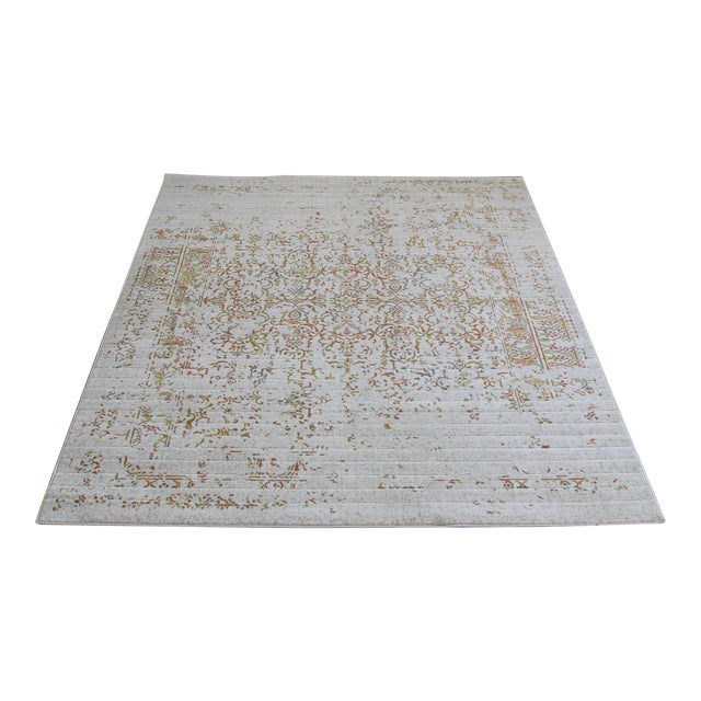 "Distressed Turkish Gray Orange Rug - 5'3"" x 7'7"" - Image 1 of 7"