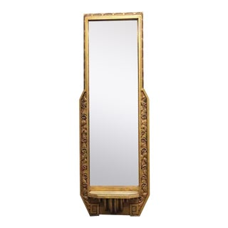 Antique French Art Deco Mirror With Shelf For Sale